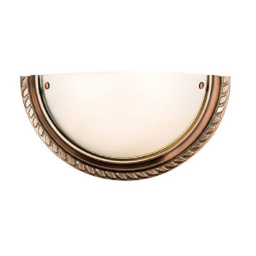 Antique copper effect plate & acid etched glass Wall Light 61238 by Endon